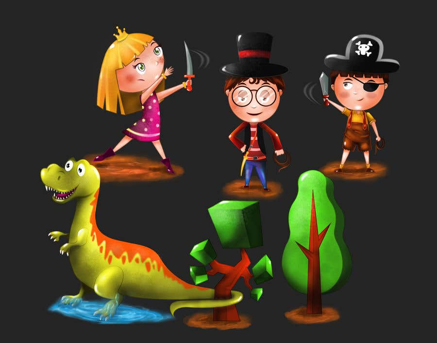 Proposition n°22 du concours Draw 3 'kid hero' characters - winner also gets a full width 'wallpaper' task to do :)