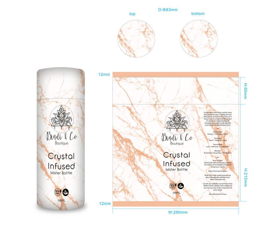 Konkurrenceindlæg #7 for Cylinder design for crystal infused water bottle