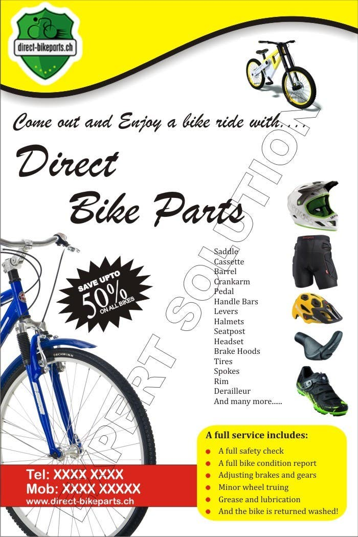 Design a sample Flyer for Bicycle store | Freelancer #10 for Design a sample Flyer for Bicycle store by workhome126
