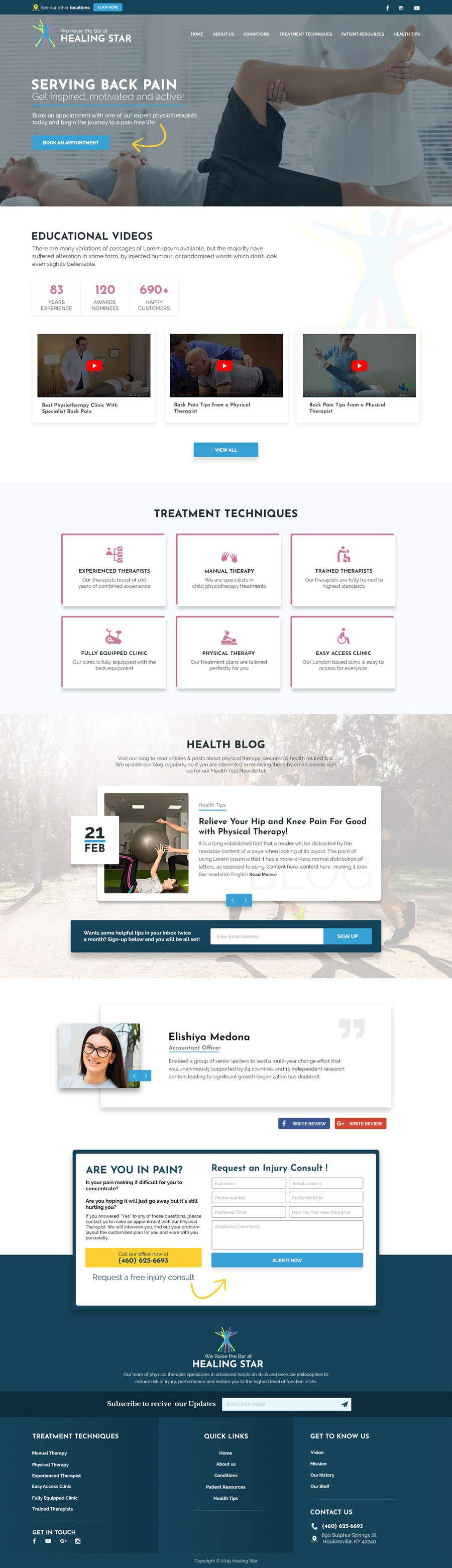 Penyertaan Peraduan #19 untuk Need PSD for physical therapy website home page