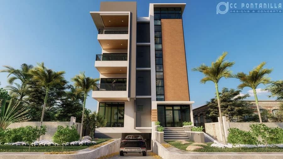 Kilpailutyö #64 kilpailussa Improve 3D Building Exterior - Paint, Windows, Balcony, Entrance, Garden