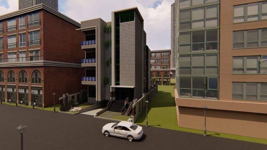 Kilpailutyö #97 kilpailussa Improve 3D Building Exterior - Paint, Windows, Balcony, Entrance, Garden