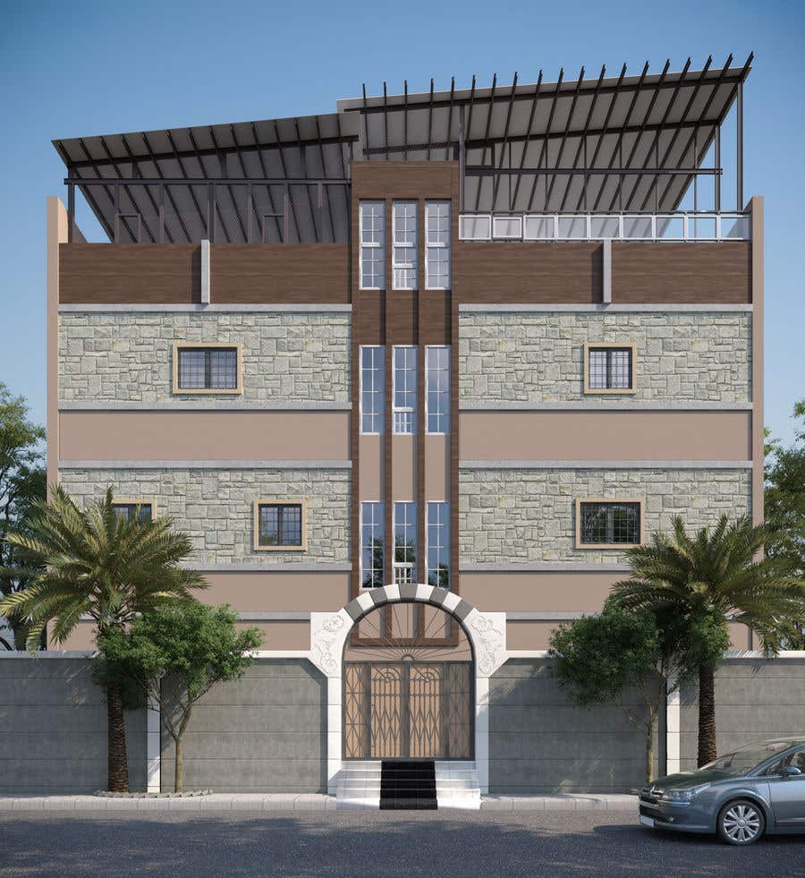 Proposition n°2 du concours 3D modeling/rendering of building facade by using 3ds Max to create new color design scheme
