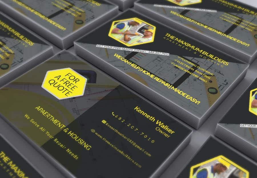 Kilpailutyö #13 kilpailussa design double sided business cards - construction