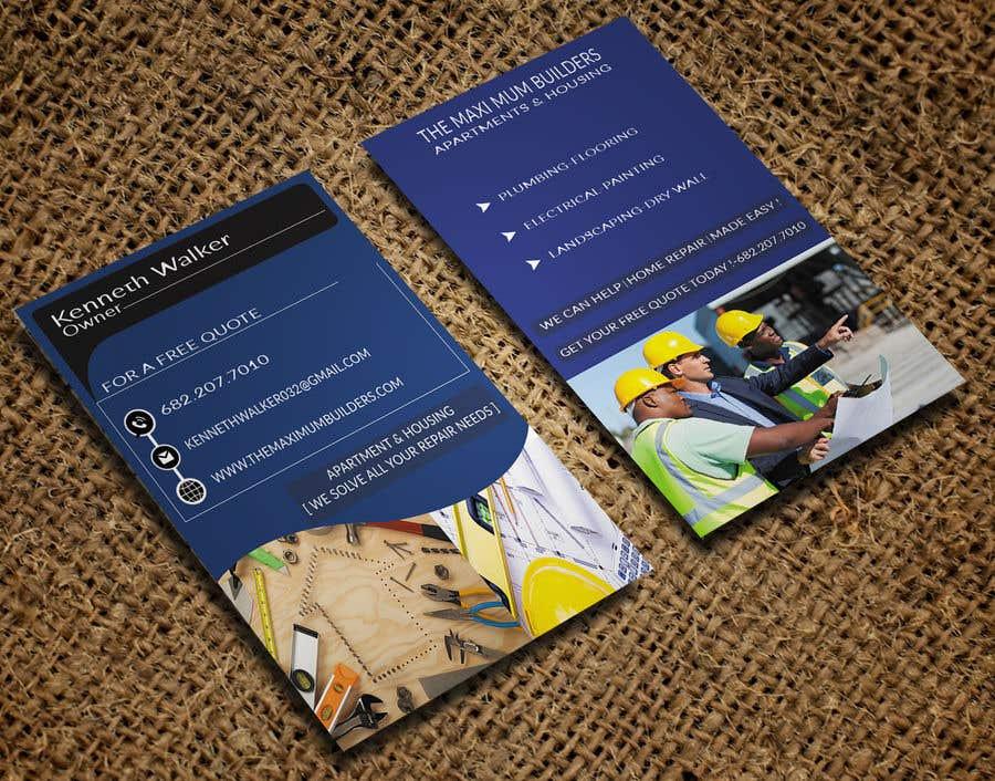 Kilpailutyö #27 kilpailussa design double sided business cards - construction