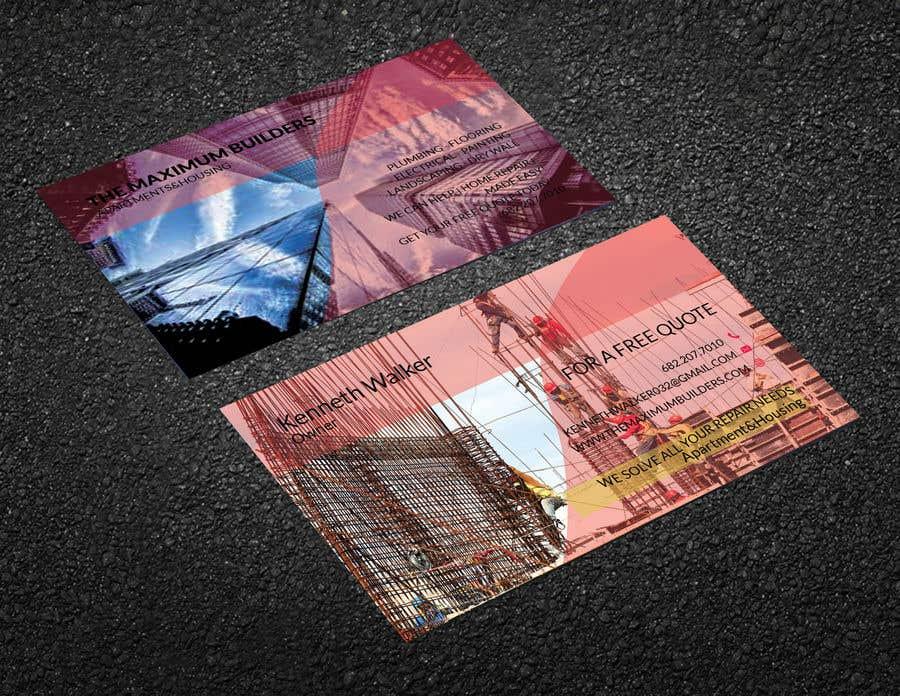 Kilpailutyö #68 kilpailussa design double sided business cards - construction