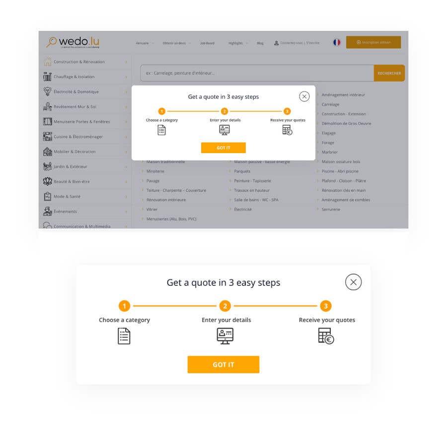 Kilpailutyö #5 kilpailussa Todo/Design: I need an inpage popup for desktop and mobile