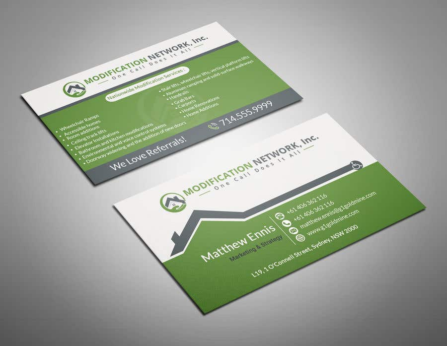 Konkurrenceindlæg #88 for Business card for a handicap home modification construction company
