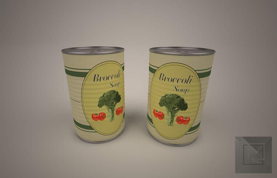 "Intrarea #6 pentru concursul ""I need a logo for a 2D artist. It must be a soup can with a ""Broccoli Soup"" title."""