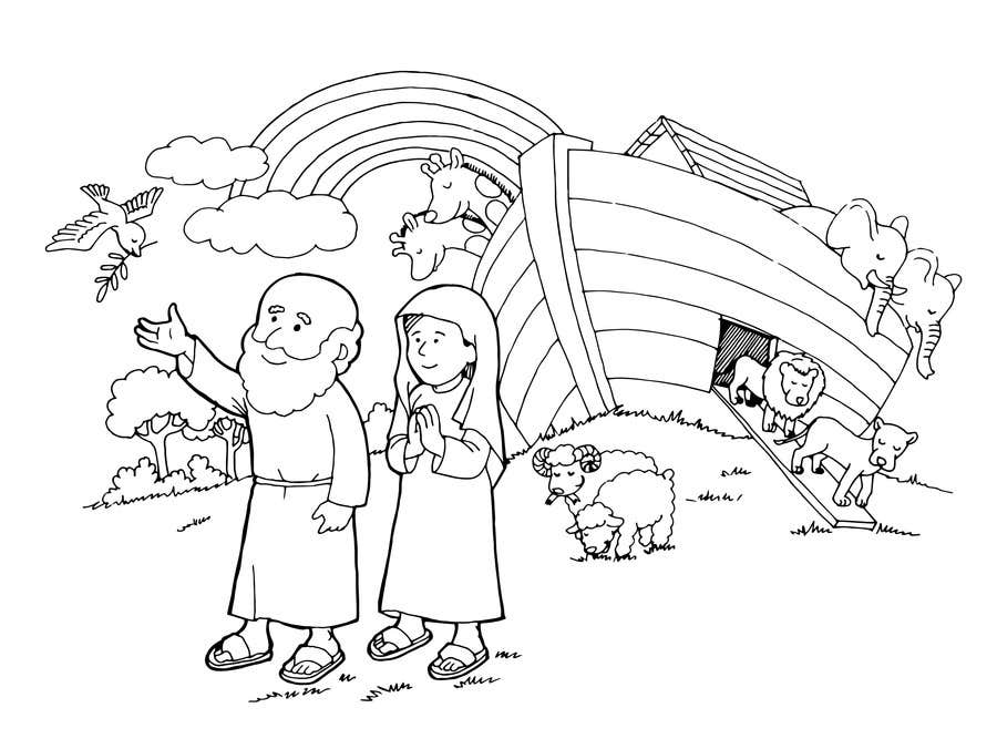 Black And White Drawing Of Biblical Story Noah And The Arc