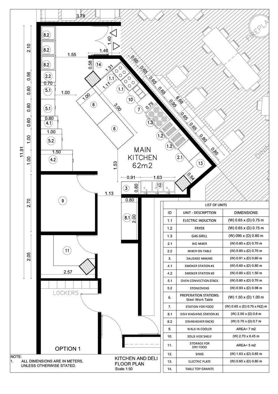 Inscrição nº 16 do Concurso para Kitchen and deli floor plan