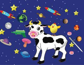 #18 untuk Create a seamless pattern of baby cows floating in space with background items oleh sasireka393