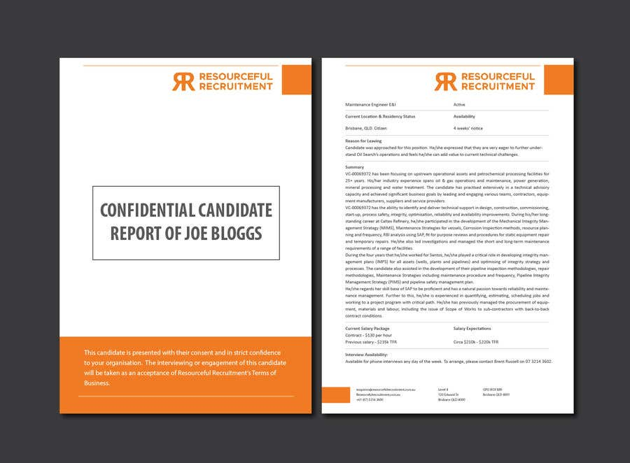 Inscrição nº 4 do Concurso para Update the front page of Candidate Report Template (Word doc)
