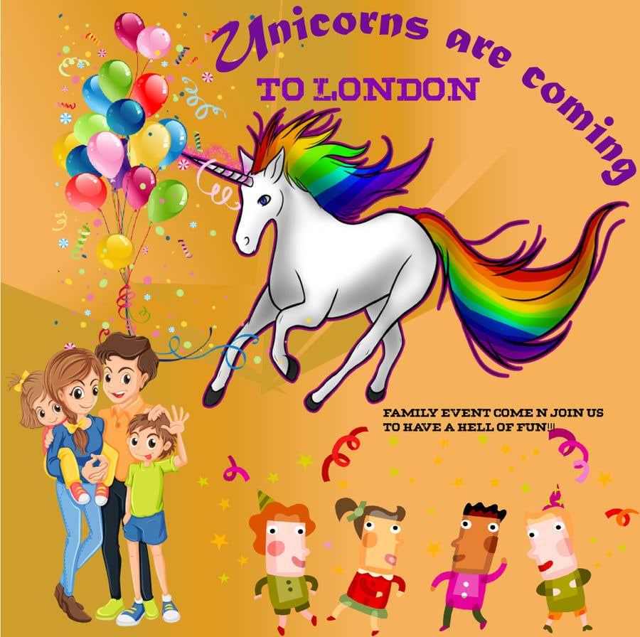 Kilpailutyö #1 kilpailussa Multiple Facebook and Istagram adverts needed kids Unicorn Event