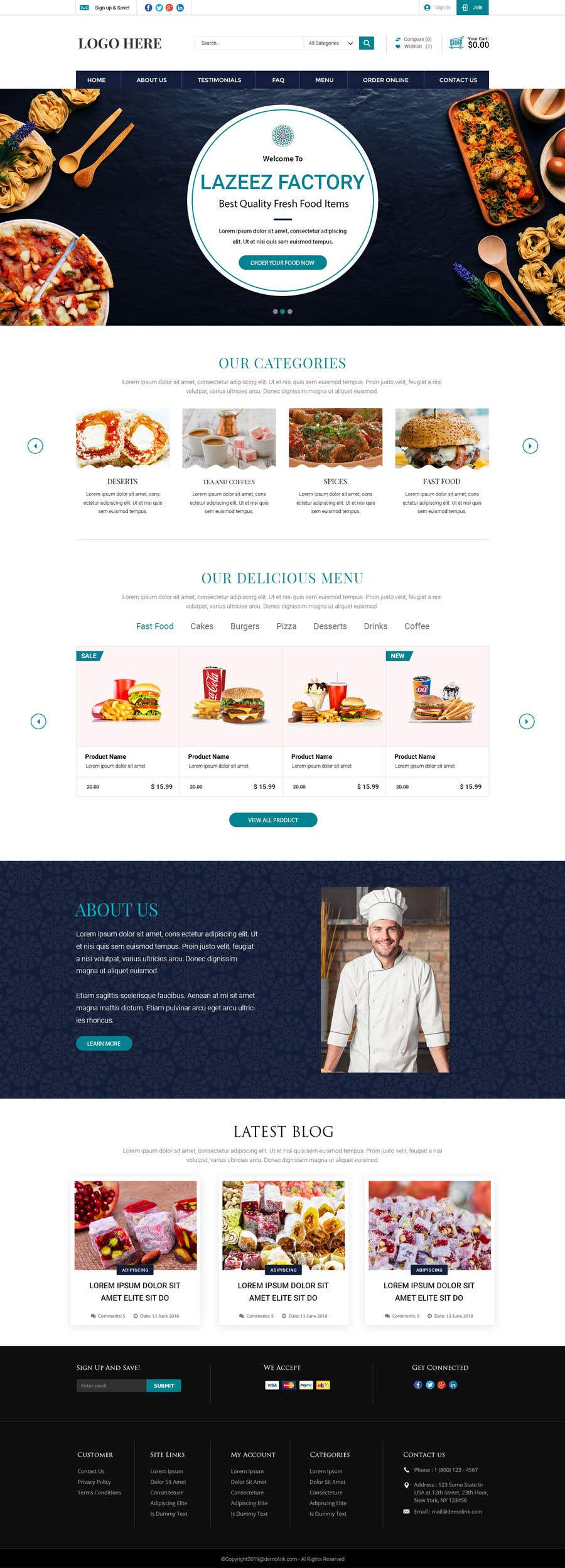 Конкурсная заявка №38 для Design A Website and Logo For Restaurant