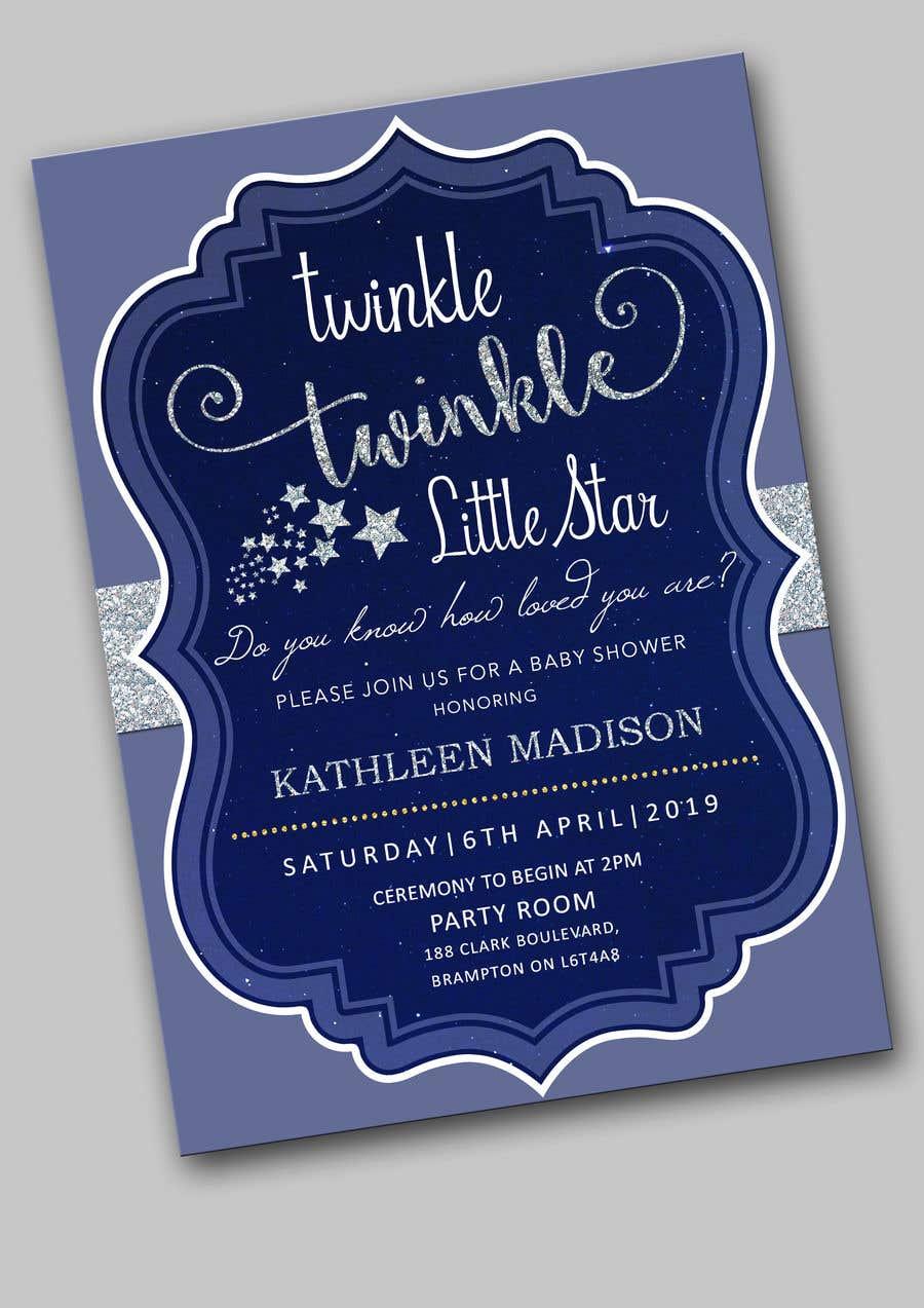 Penyertaan Peraduan #15 untuk An Amazing twinkle twinkle little star baby shower invitation