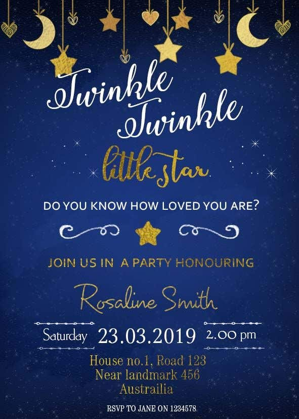 Penyertaan Peraduan #9 untuk An Amazing twinkle twinkle little star baby shower invitation