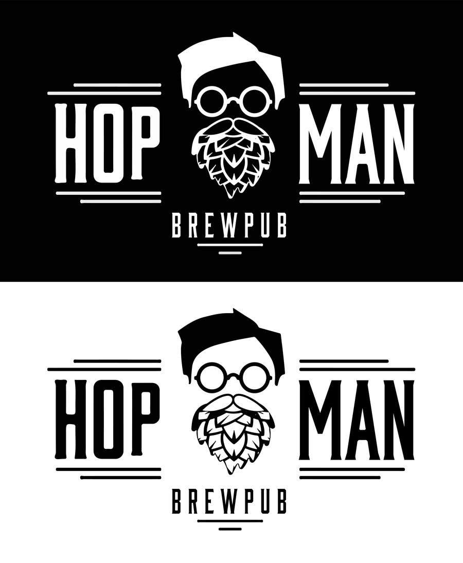 """Intrarea #19 pentru concursul """"As you can see, we have a logo, but we need to change the slogan of it and some words. Instead of Hop Doc  - we want it to be Hop Man. And slogan should be Brewpub. If we will like your style - we will work a lot in the future!"""""""