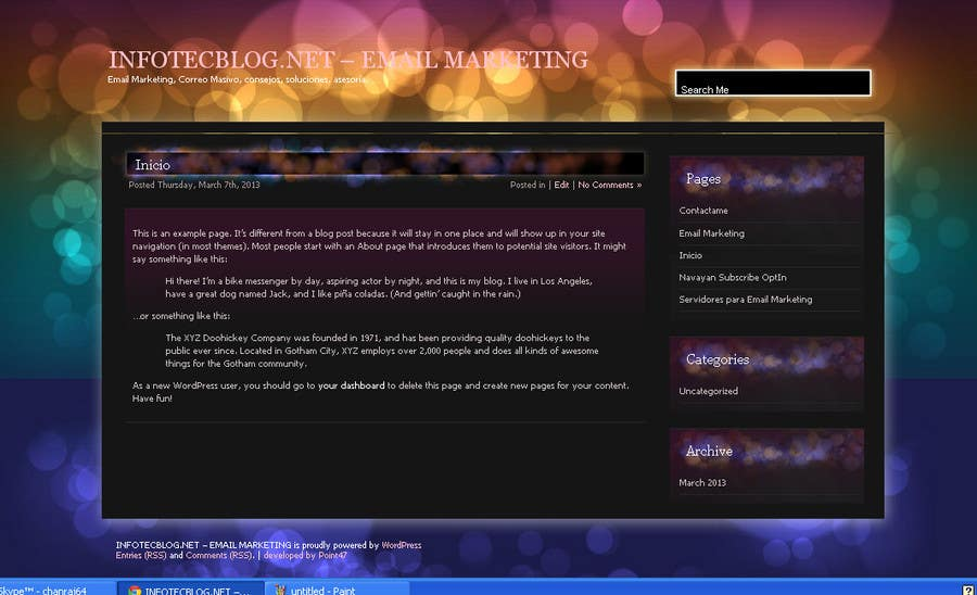 Penyertaan Peraduan #                                        5                                      untuk                                         Wordpress Theme Design for blog of Email Marketing