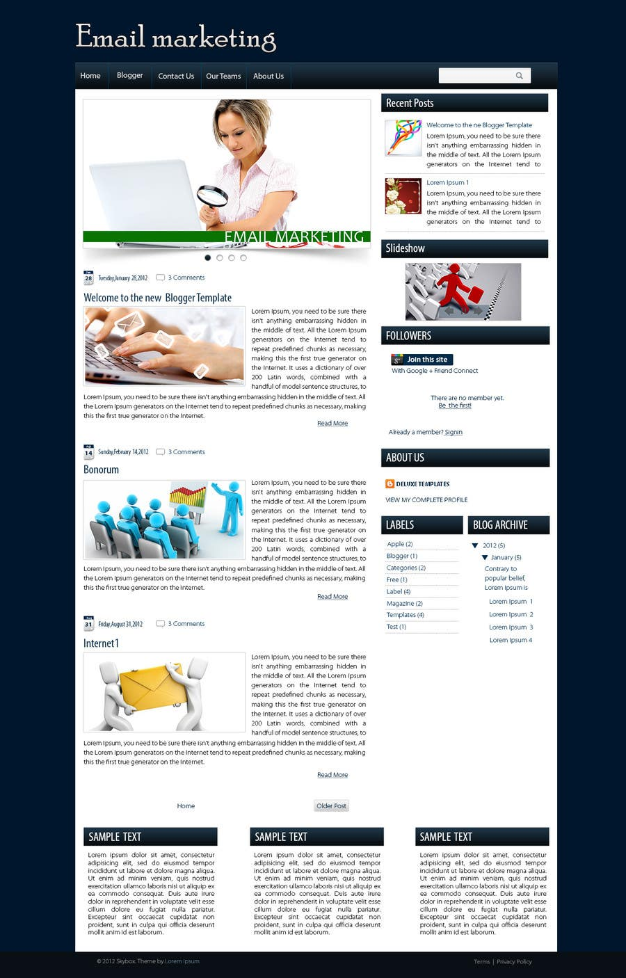 Contest Entry #                                        6                                      for                                         Wordpress Theme Design for blog of Email Marketing