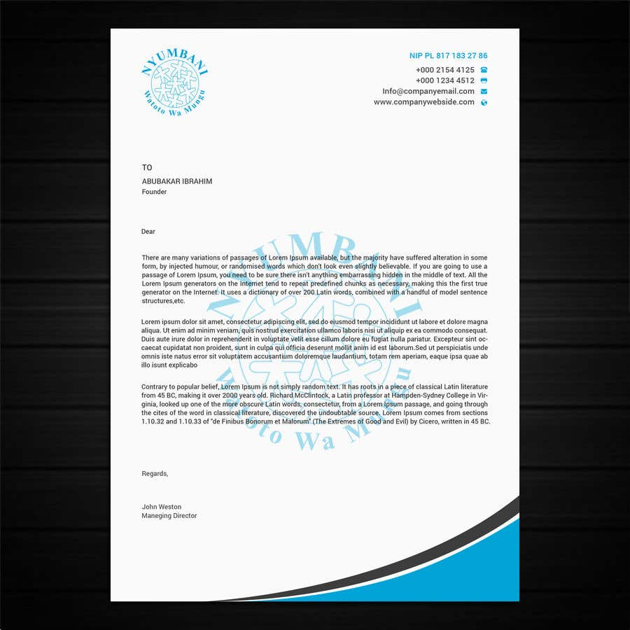 Penyertaan Peraduan #13 untuk design letterhead