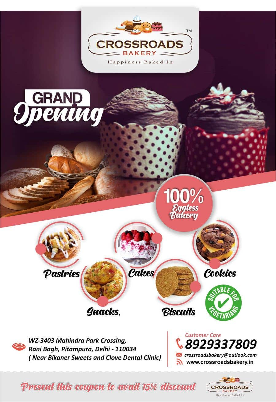 Penyertaan Peraduan #43 untuk Need a flyer for a new opening of a Bakery outlet
