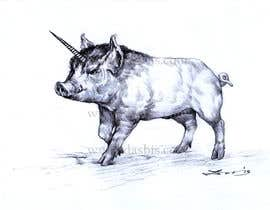 #66 for Illustration of a Pig Unicorn. (Pig with Horn) af dasbis777