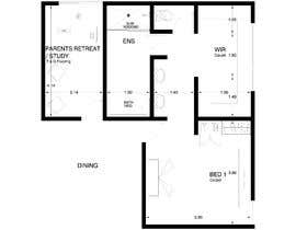 #32 for Redesign floor plan of parents retreat including bathroom, study and walk in wardrobe af ArqOrozco