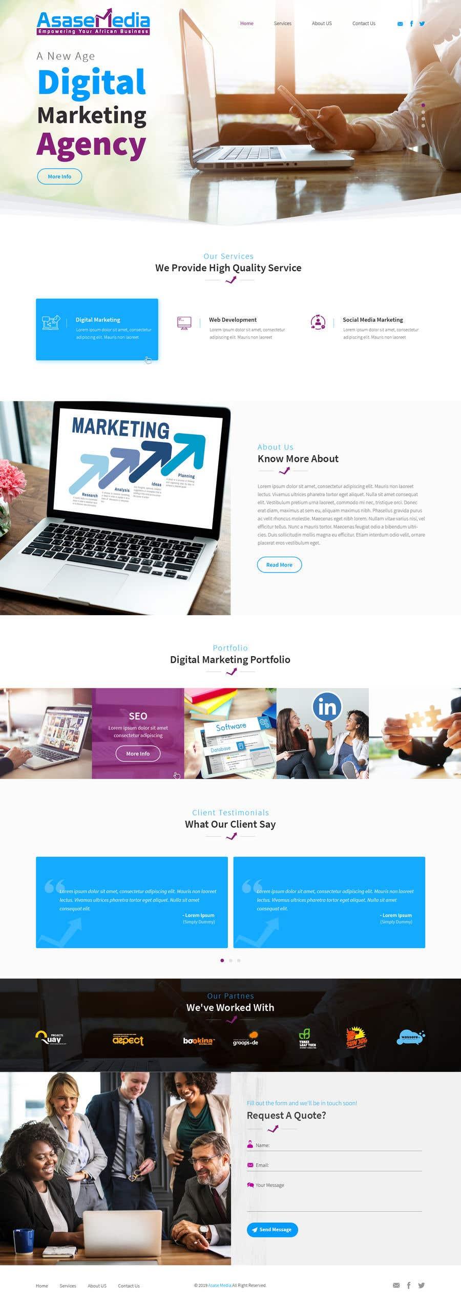 Inscrição nº 9 do Concurso para Social Media Marketing Agency Web site Mock Up