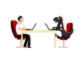 #78 cho Need an illustration of a man working at a desk with a dinosaur bởi zaeemiqbal