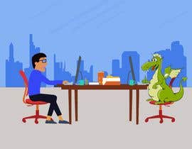 #129 cho Need an illustration of a man working at a desk with a dinosaur bởi mithumonti
