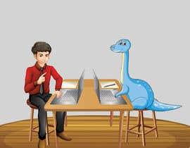 #3 cho Need an illustration of a man working at a desk with a dinosaur bởi farhanqureshi522