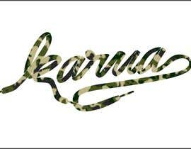 """suharsh tarafından Using the font in the """"Bape"""" image convert the word to """"Karma"""" and fill the word in with a camo print. için no 6"""