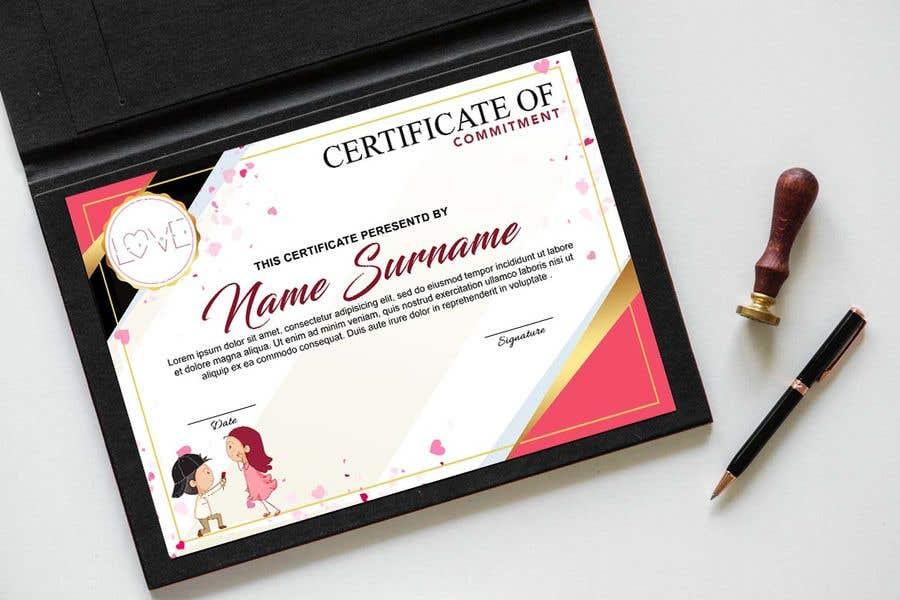 Kilpailutyö #20 kilpailussa design a love certificate template with my logo