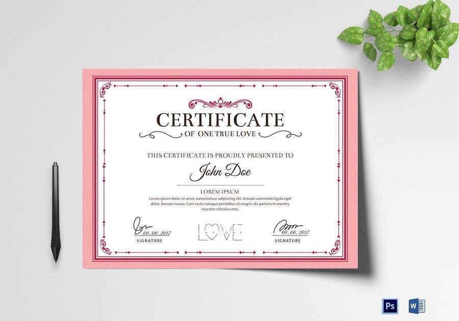 Konkurrenceindlæg #27 for design a love certificate template with my logo