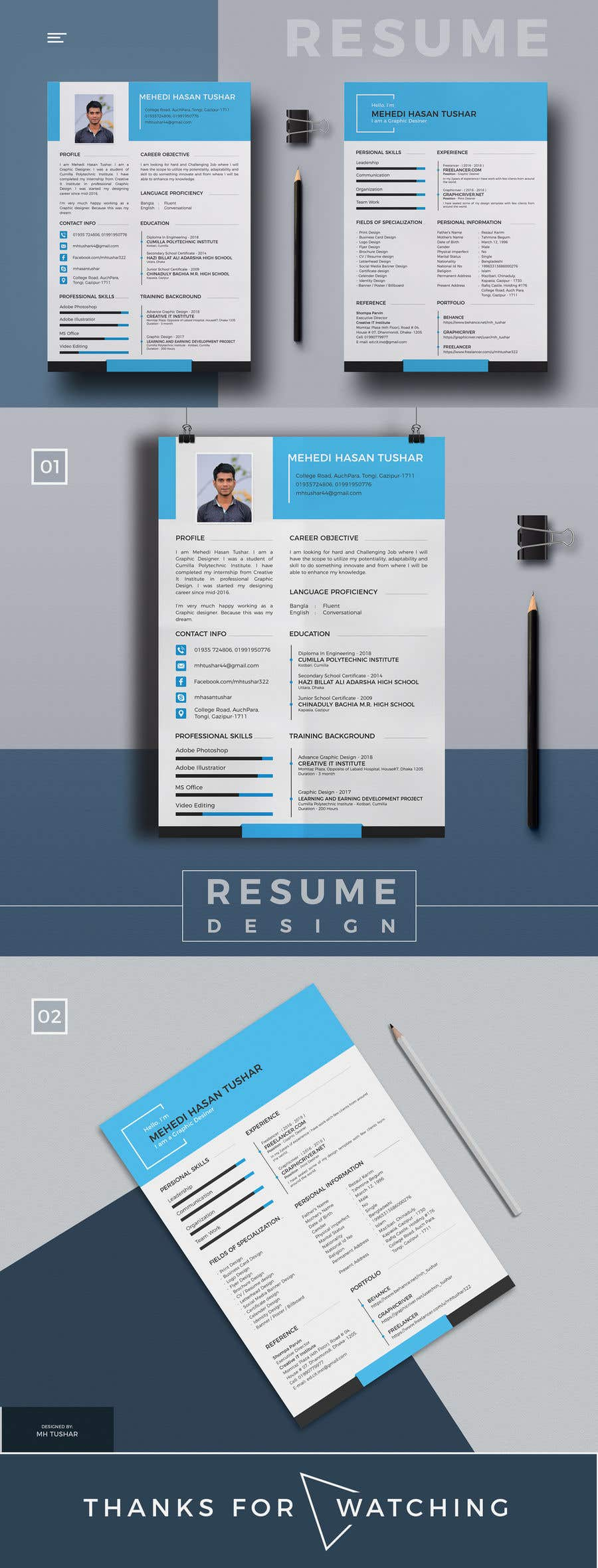 Entry #1 by mhtushar322 for 5 pdf CV templates/designs for 5