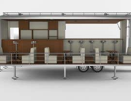 #25 para I need an approximate layout of a trailer converted into a bar. The trailer is 8m x 2.1m. Must have a bar for serving drinks and seating area. Designer can send the layout, front view, side view or possibly 3d model. por yanko999