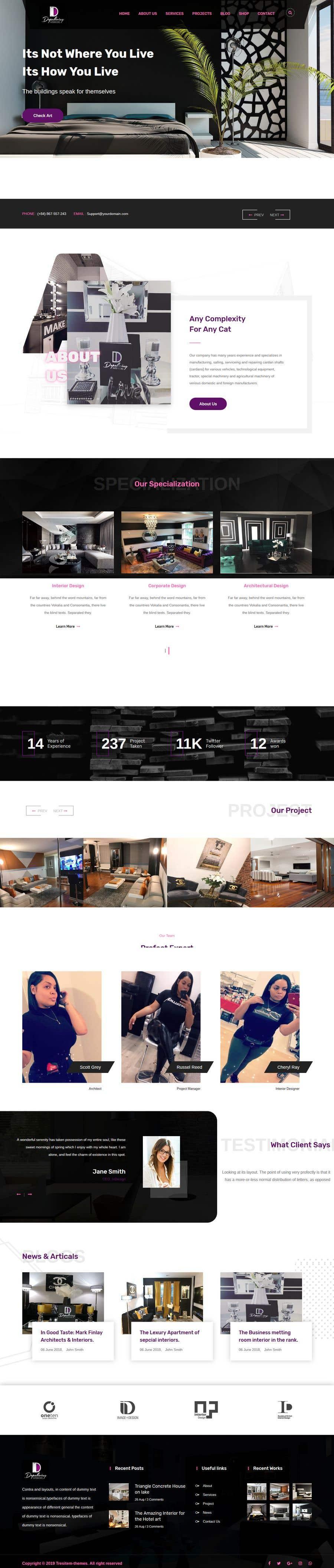 Penyertaan Peraduan #16 untuk Build Me A Website Template For An Interior Designer