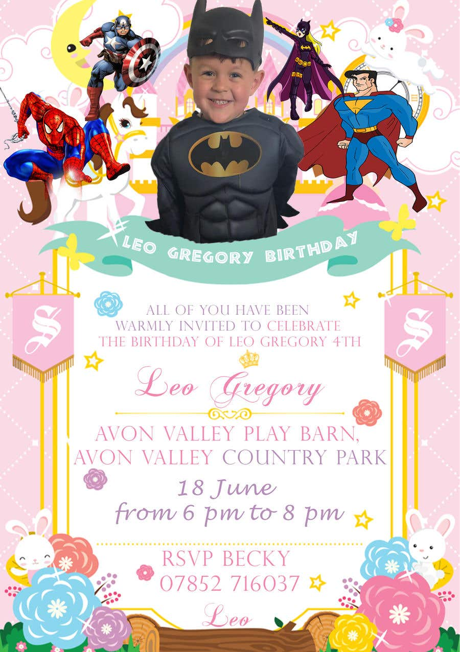Proposition n°5 du concours Create a superhero theme birthday invite