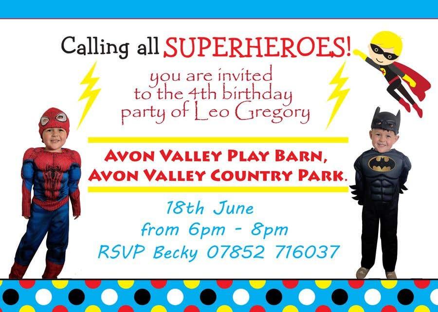 Proposition n°3 du concours Create a superhero theme birthday invite