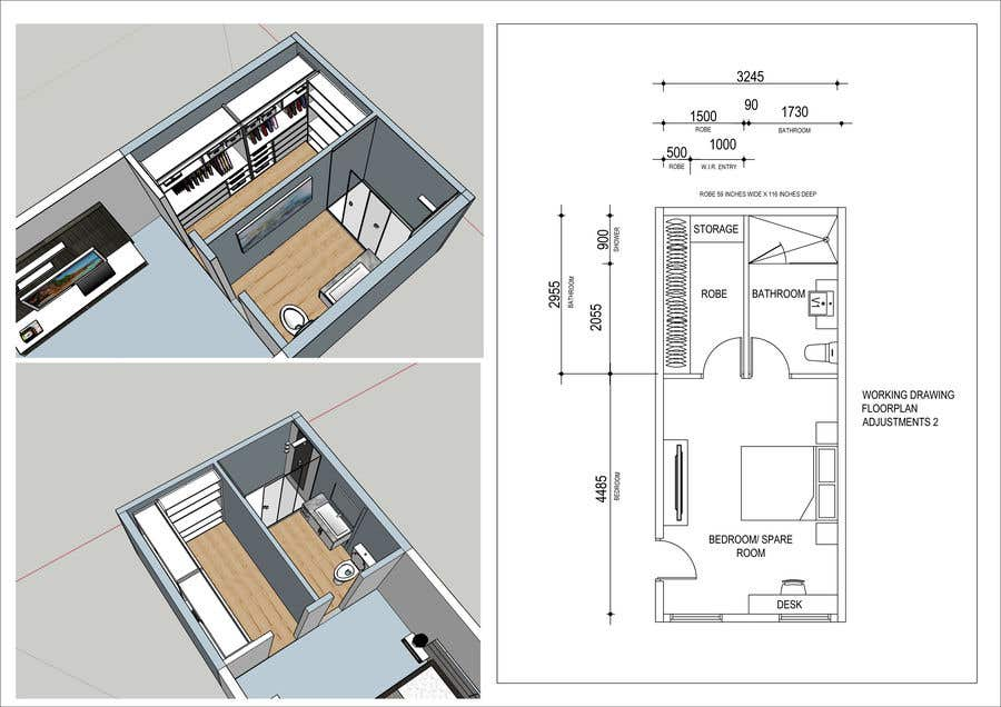 Contest Entry #37 for Design a bathroom Layout/ rendering