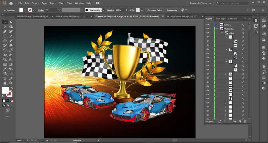 Contest Entry #4 for Make a Watercolor Race Car design in Vector file