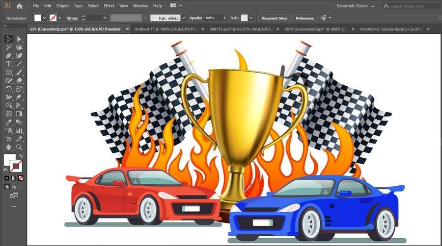 Contest Entry #10 for Make a Watercolor Race Car design in Vector file
