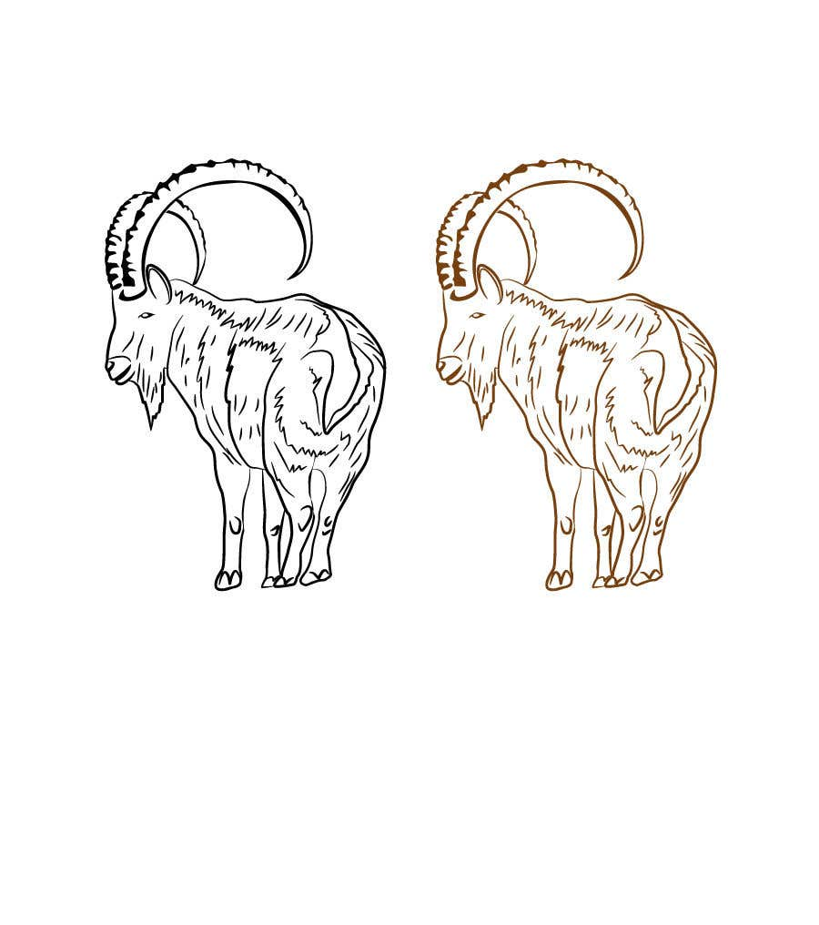Contest Entry #82 for Need a line(brown) sketch of the animal Himalayan Ibex done, looking at it from behind