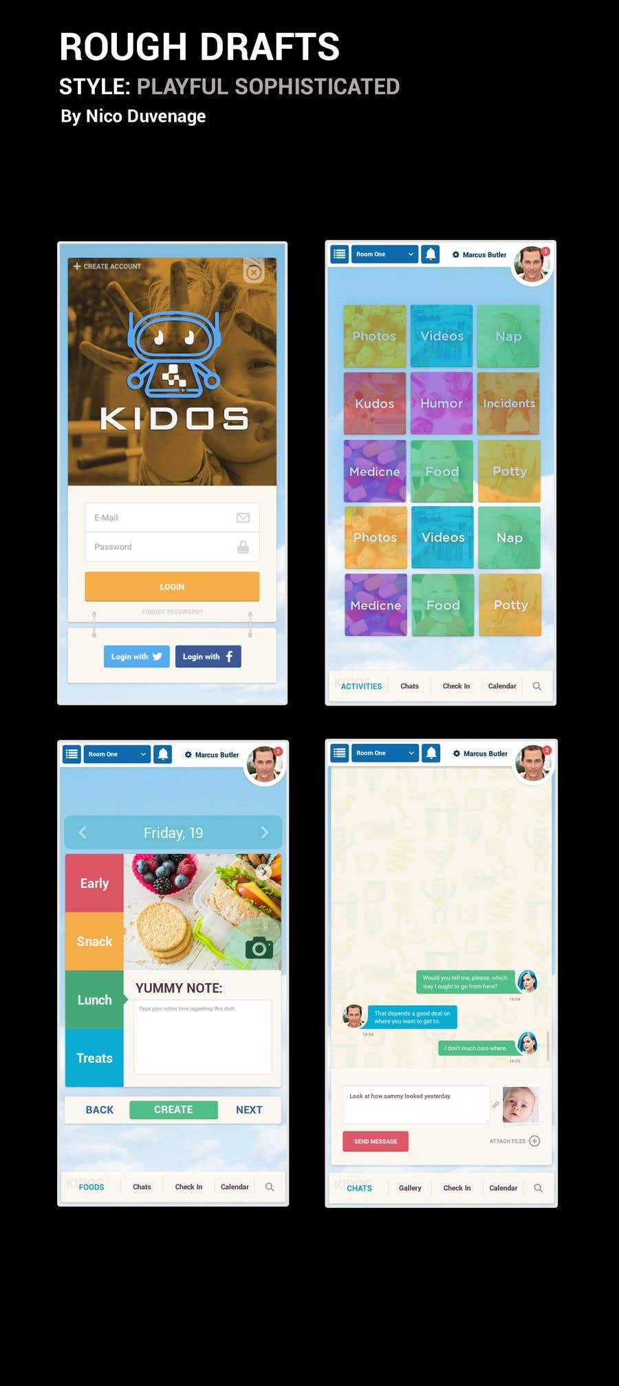 Contest Entry #23 for Daycare Mobile App Design (only some screens)
