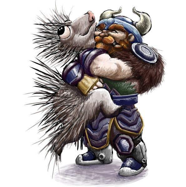 Bài tham dự cuộc thi #95 cho Creative art of someone wearing battle armor hugging a porcupine. Artwork Illustration