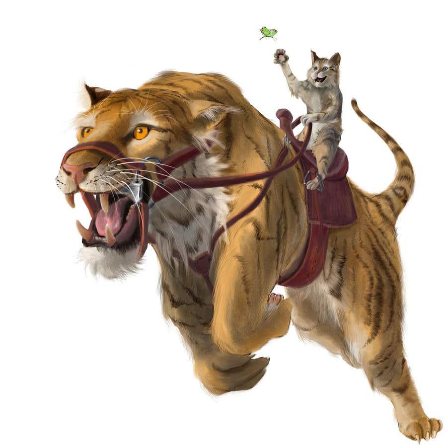 Kilpailutyö #144 kilpailussa Creative Art: A Cat Riding a Big Wild Cat Like a Horse (with Saddle)