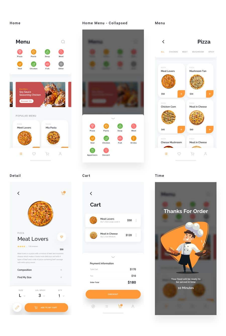 Contest Entry #15 for Restaurant Mobile Application Prototype (look and feel only)