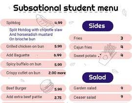 #6 для I need menu for 8.5 by 11  With my logo on top and it should say subsational student menu от Sophialee4
