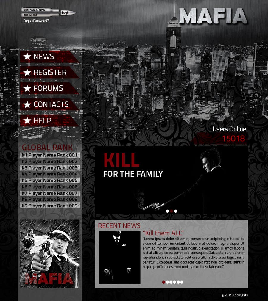 Penyertaan Peraduan #                                        5                                      untuk                                         Mafia Game website homepage design
